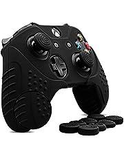CHIN FAI per Xbox One/Xbox One s/Xbox One X Controller Skin, Custodia Antiscivolo in Silicone Custodia Microsoft Controller con 8 x Thumb Stick Grip Caps (Nero)