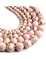 Yochus 8mm Pink Shell Turquoises Round Loose Beads Natural Stone Beads for Jewelry Making
