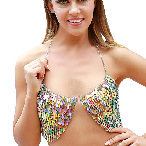Necklace Chain Halter - Body Chain Bra Jewelry for Women - Halter Backless Sequins Bikini Top Chain Bra (Colorful, Large)
