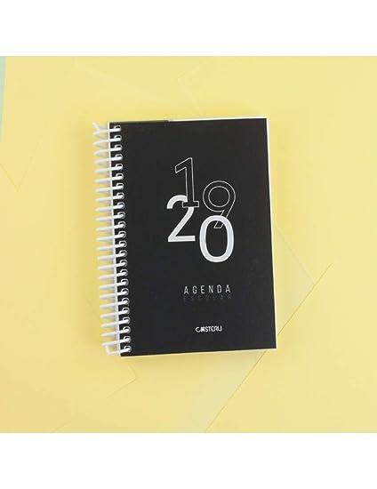 Casterli - Agenda Escolar 2019-2020 Basic Edition - Día Página, Tamaño A6 (Negro)