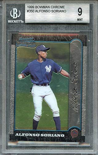 1999 bowman chrome #350 ALFONSO SORIANO yankees rookie card BGS 9 (9 9 8.5 9.5) Graded Card
