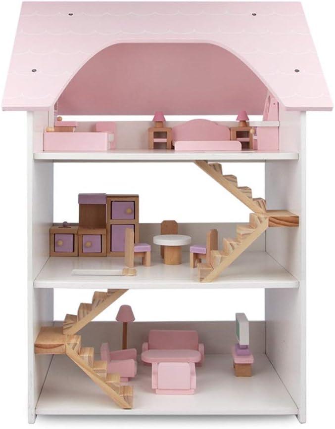 Casa de Madera de muñecas para niñas Juego de madera de 3 pisos Villa niñas DIY simulación Casa Grande Casa Rosa Casa muñeca de juguete for la Educación Temprana Casa de muñecas