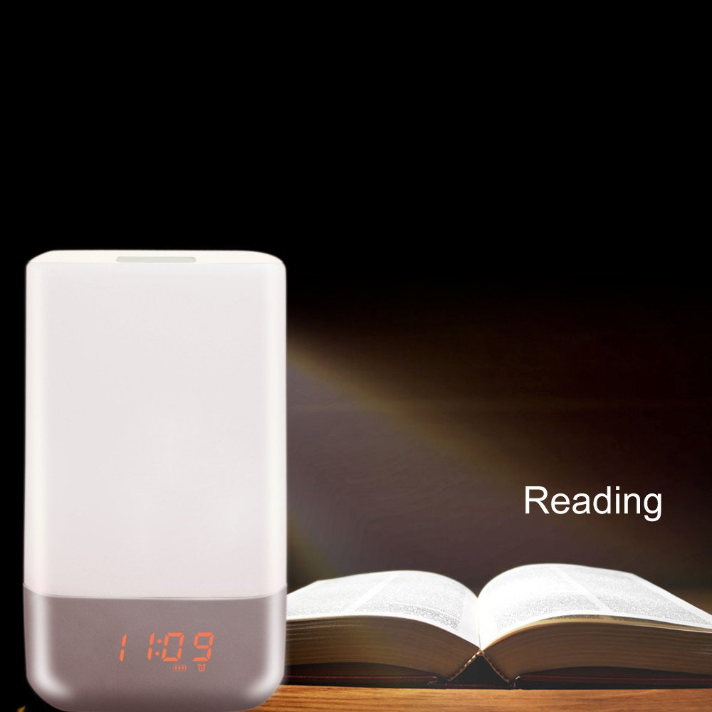 Dressffe❤️ Bedside Sensor Table Lamp Dimmable Changing Smart Atmosphere Lamp Clock
