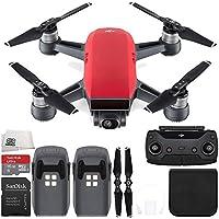 DJI Spark Portable Mini Drone Quadcopter (Lava Red) + DJI Spark Remote Essential Bundle