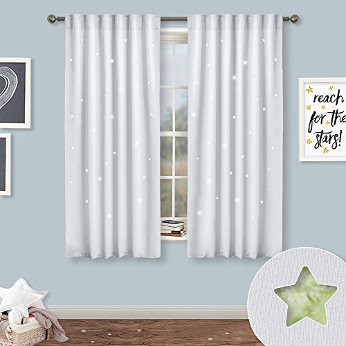 NICETOWN Kids Room Star Curtains - Fashion Zodiac Constellation Drapes with Laser Cutting Out, Thermal Insulated Nursery Bedroom Essential Window Covering (Greyish White,2 Panels,52W x 63L) by NICETOWN