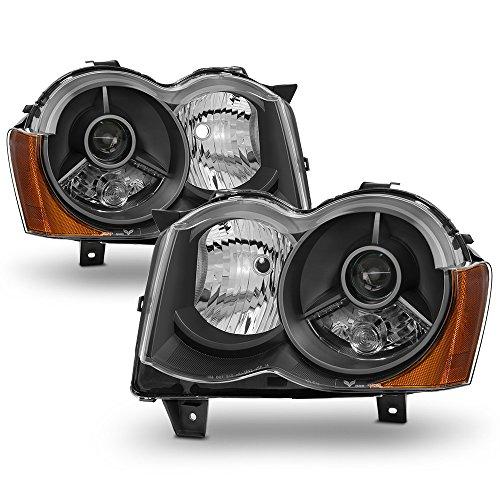 ACANII - For Black 2008-2010 Jeep Grand Cherokee Projector Headlights 08-10 Halogen Model Driver + Passenger Side