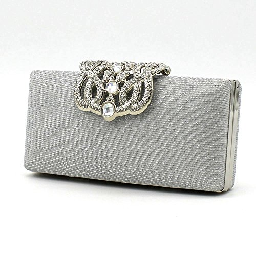Shiratori Crown Purses and Handbags Evening Bags and Clutches,Silver by Shiratori