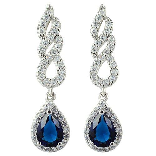 RIZILIA Dangle Drop Pierced Earrings with Pear Cut CZ [Simulated Blue Sapphire] in White Gold Plated, Simple Modern Elegant (Cut Dangling Sapphire Earrings)
