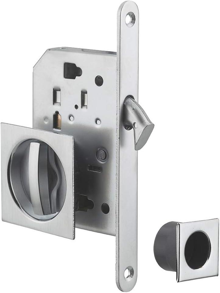 Cerradura con cierre de gancho para puerta corredera cromado satinado, rosetones cuadrados: Amazon.es: Bricolaje y herramientas