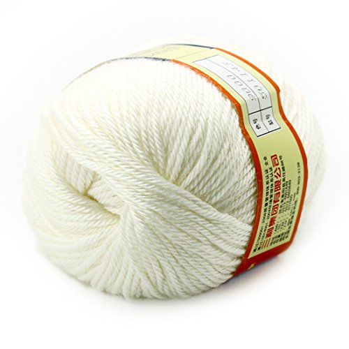 joylive Soft Wool Worsted Sweater Cashmere Knitting Knitted Warm Baby Yarn 50g White
