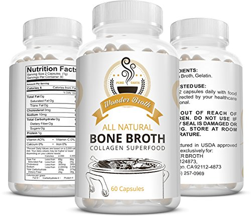 Collagen – Wonder Broth All Natural Bone Broth Collagen Superfood (60 Capsules) – Gelatin Promotes Hair and Nail Growth – Stronger Teeth and Can Prevent Cavities – May Reduce Cellulite – Chicken Broth For Sale
