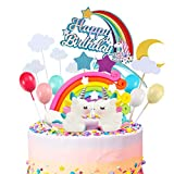 iZoeL 21pcs Unicorn Cake Topper Kit Cloud Rainbow Balloon Happy Birthday Banner Cake Decoration For Boy Girl Kid Birthday