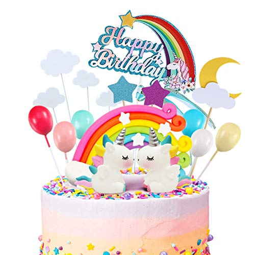 MOVINPE 21pcs Unicorn Cake Topper Kit Cloud Rainbow Balloon Happy Birthday Banner Cake Decoration For Boy Girl Kid Birthday