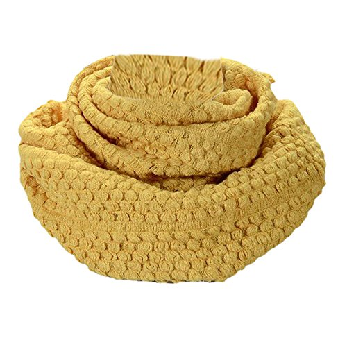 - Bolayu Women Winter Warm Circle Cable Knit Cowl Neck Long Scarf Shawl Scarfves (Yellow)