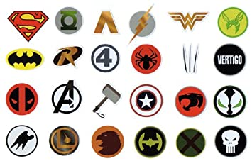 24 superhero stickers for skateboards scooters cases marvel dc