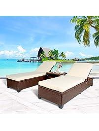 Cloud Mountain 3PC Outdoor Rattan Chaise Lounge Chair Patio PE Wicker  Rattan Furniture Adjustable Garden Pool