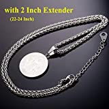 U7 Coin Necklace for Men Boys, Stainless Steel