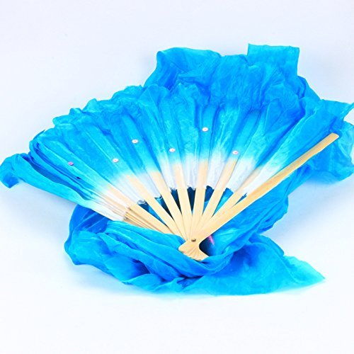 Agile-Shop 1.8M Hand Made Belly Dance Dancing Silk Bamboo Long Fans for Party Stage Performance (Blue)
