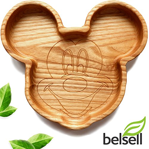 Plates with Dividers for Toddlers Christmas Plate Kids Baby Childrens Eco Friendly Wooden Dish BPA Free Mickey Mouse