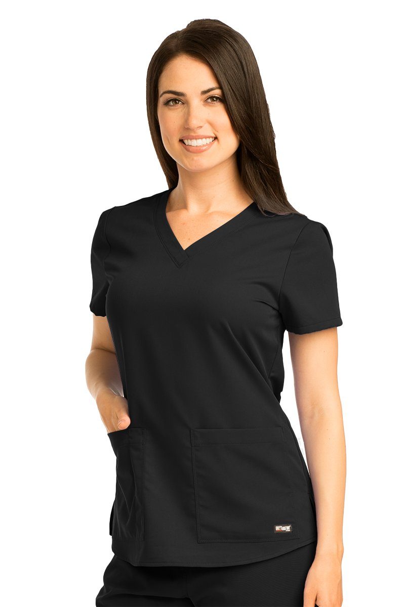 Grey's Anatomy Women's Two Pocket V-Neck Scrub Top with Shirring Back, Black, Large