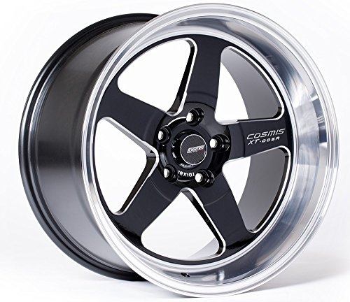 COSMIS RACING XT-005 18X9 +25MM OFFSET 5X114.3 BLACK W/ MACHINED LIP & MILLED SPOKES WHEEL SET