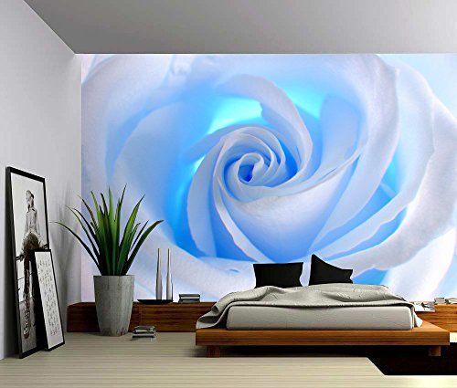 Picture Sensations Canvas Texture Wall Mural, Blue Rose Flower, Self-adhesive Vinyl Wallpaper, Peel & Stick Fabric Wall Decal - 144x96