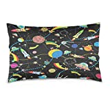 ALAZA Cartoon Earth Solar System Planet Space Cotton Lint Pillow Case,Double-sided Printing Home Decor Pillowcase Size 16''x24'',for Bedroom Women Girl Boy