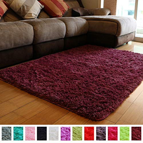PAGISOFE Soft Furry Fur Rugs for Living Room Bedroom Area Indoor Modern Fluffy Rugs Decor Plush Home Decorative Carpet for Girls Boys Dorm Dining Room Floor Mat Shaggy Rug 4' x 5', (Dark Burgundy) -