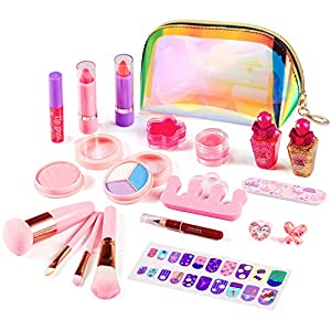 ARANEE Maquillage Enfant Jouet 21PCS Kids Make Up Set pour Les Filles, Kit de Jouet de Maquillage Lavable avec Sac…
