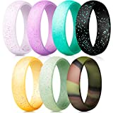 ThunderFit Silicone Rings, 7 Pack Wedding Bands for Women - 5.5 mm Wide (Camo, Glitter-Pink, Light Pink,Dark Pink, Neon,Yellow, Teal, Black, 7.5-8 (18.2mm))