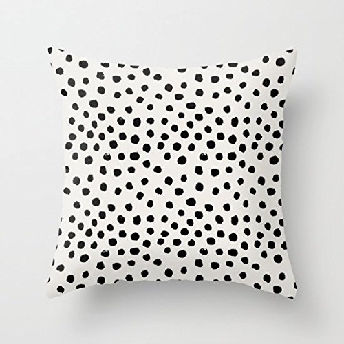 Maliyna Preppy Brushstroke Free Polka Dots Black and White Canvas Square Decorative Throw Pillowcase Cushion Cover 20