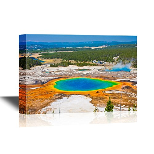 wall26 - USA Landmarks Canvas Wall Art - The World Famous Grand Prismatic Spring in Yellowstone National Park - Gallery Wrap Modern Home Decor | Ready to Hang - 16x24 inches