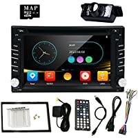 HIZPO Universal In Dash DVD Receiver Car GPS Stereo Radio Double 2 Din Multi-Touch Capacitive Screen + Backup Camera