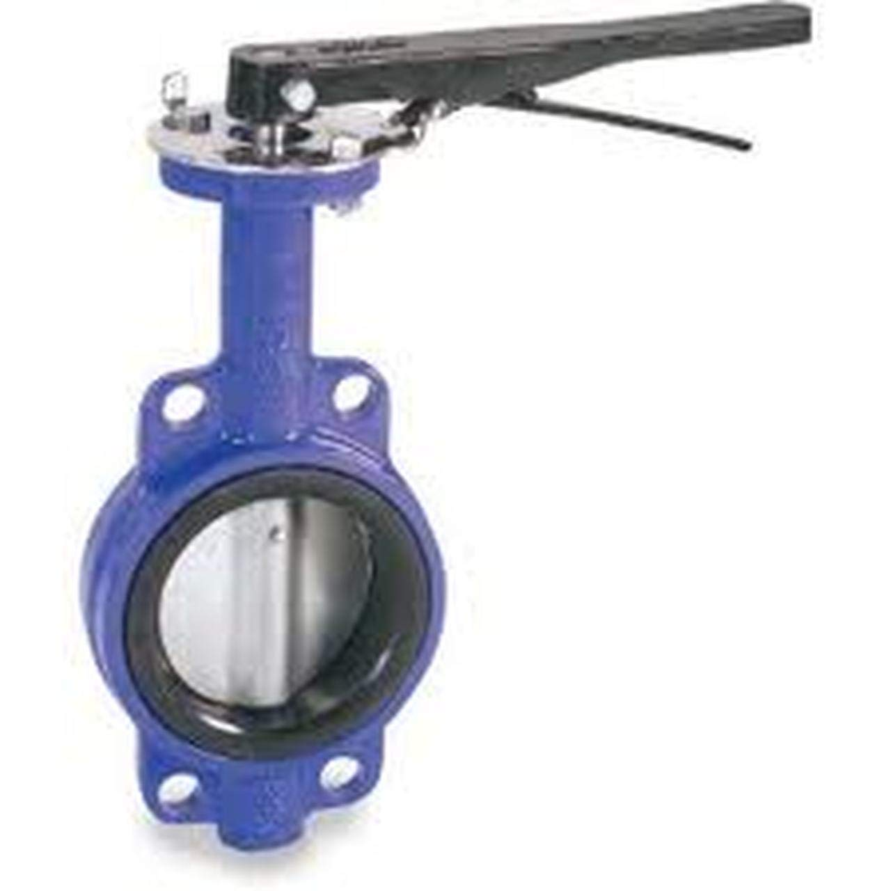Cast Iron Lever Operated Wafer Body Butterfly Valve Nickle Plated Disc Buna-N Seat Buna-N 5 in