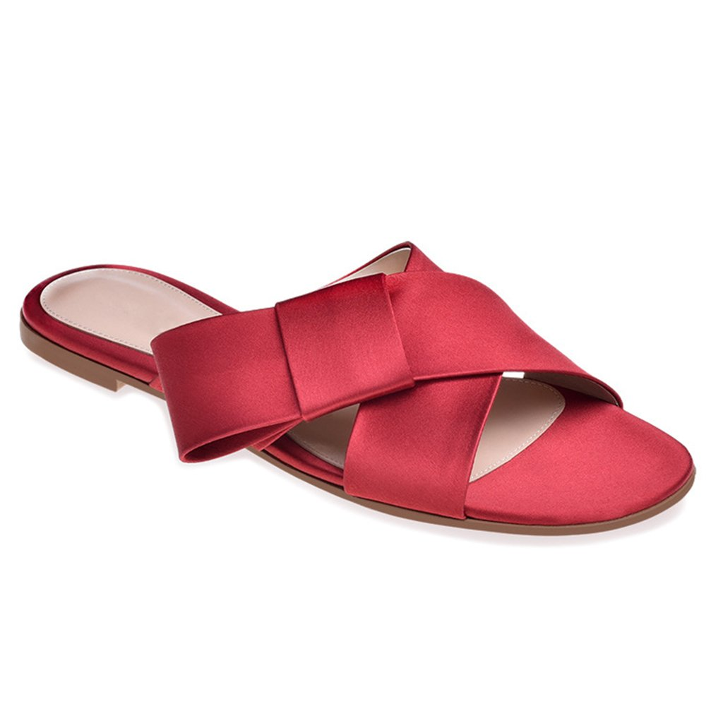 LYY.YY Zapatos De Playa para Mujeres Sandalias De Vacaciones Ocasionales Zapatos Planos Zapatillas De Punta Abierta Zapatillas Cómodas,Red,46 46|Red