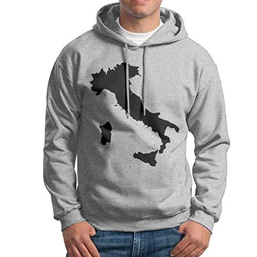 Arsmt Hooded Sweatshirt Male Casual Pullover Fleece Hoodie Italy Map Black
