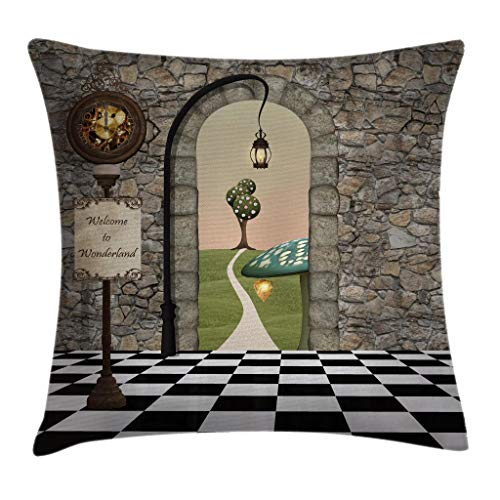 "Ambesonne Alice in Wonderland Throw Pillow Cushion Cover, Welcome Wonderland Black and White Floor Landscape Mushroom Lantern, Decorative Square Accent Pillow Case, 28"" X 28"", Black Green"