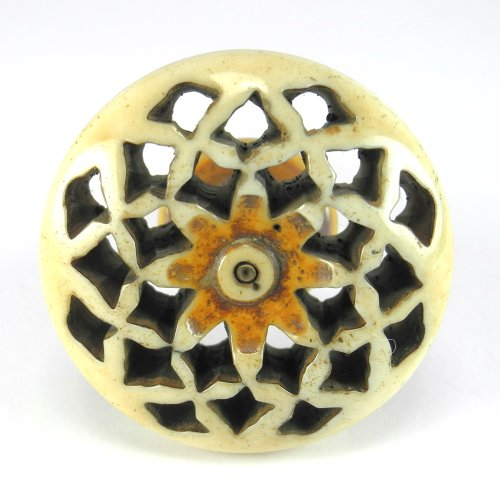 Ivory Round Cabinet Knobs, Drawer Pulls & Handles Set/4pc C98 Hand Carved Resin Knobs for Cabinets, Furniture, Dresser Drawers and Vanity