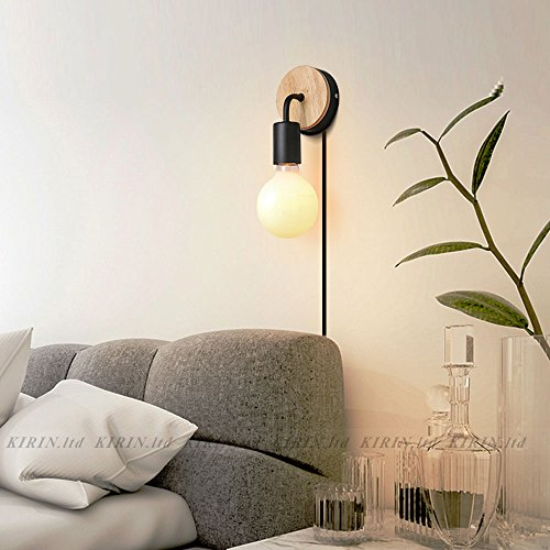 Minimalist Wall Light Sconce Plug-in E26/27 Base Modern Contemporary Style Down Lighting Dimmble Wall Lamp Fixture with Wood Base for Bedroom, Closet, Guest Room Hall Night Lighting (Black) by KIRIN (Image #3)