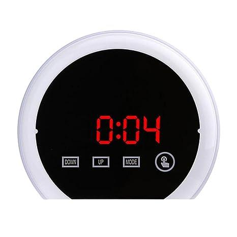 perfk LED Despertador Reloj Digital Mesa Reloj Despertador Espejo Sensor Táctil Luz NNoch con 2Puertos USB