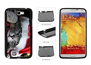 Cute Cat in Santa Hat Plastic Phone Case Back Cover Samsung Galaxy Note II 2 N7100