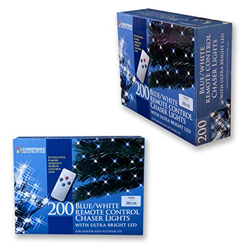 The Christmas Workshop 200 Remote Control LED Chaser Lights Blue// White