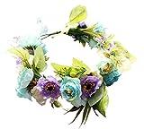 Vivivalue Boho Handmade Flower Crown Hair Wreath Halo Floral Garland Headband Headpiece with Ribbon Festival Wedding Blue
