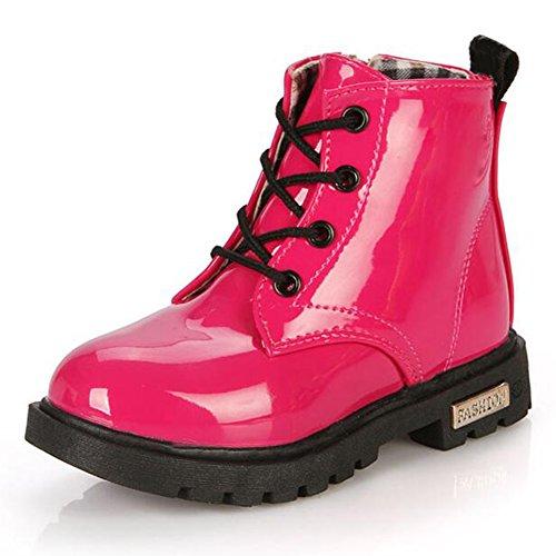 hibote Kinderschuhe Mädchen Jungen PU-Leder Schnüren Sich Oben Hoch Turnschuh Sport Herbst Winter Shoes A-Rot