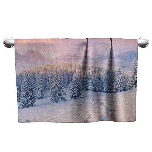Soft Towel W24 x L8 Mountain,Idyllic Winter Morning in Woodland Rising Sun Pine Trees Forest Snowy Foggy, Pale Pink White Water Absorption Multi-Purpose