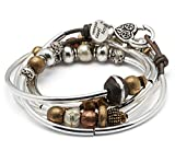 Infinity Silverplated Single Strand Natural Dark Brown Leather Wrap Bracelet (Large (6 5/8'' - 7''))