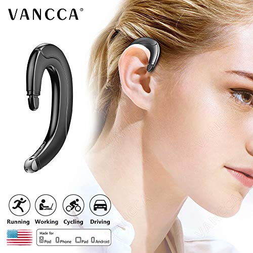 Bluetooth 5.0 Headphones Earphones Wireless Earbuds Around Ear Hook with Microphone Waterproof Noise Cancelling Workout Business Sport Exercise Gym Cycling for iPhone Android Cell Phones,Black