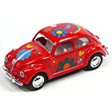 Kandy Toys Red Volkswagen Classical Beetle With Hippy Print (1967) Die Cast Metal 1:64 (hl128)