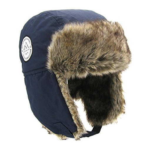 (Moon Kitty Boys Winter Hats Big Kids Cowboy Cloth/Aviator Winter Earflap Cap Navy 4-6Years)