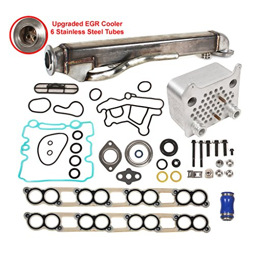 Egr Cooler - Evergreen EGR-6.0-CNK-3 Upgraged Oil Cooler & Upgraded EGR Cooler Kit Ford 6.0 OHV V8 Diesel Turbo